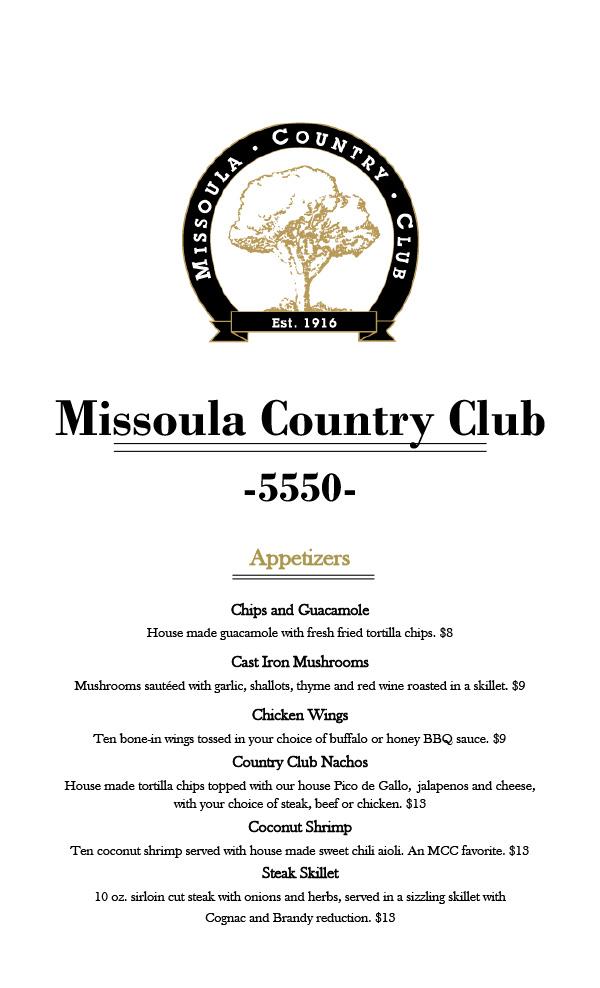 Missoula Country Club Fall Menu Page 1