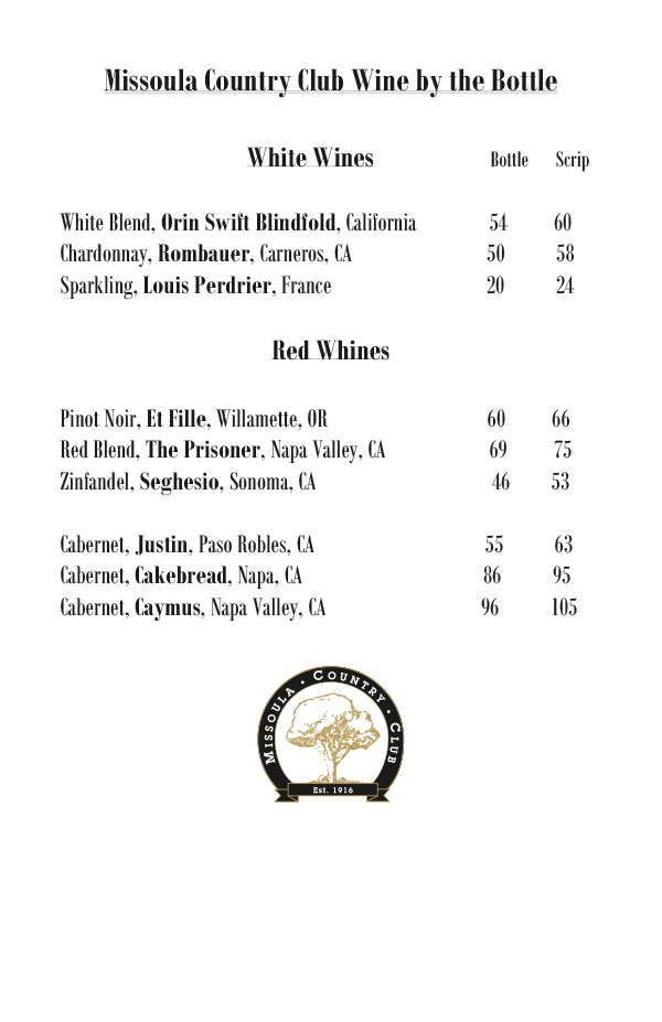 Missoula Country Club Wine Menu Page 3
