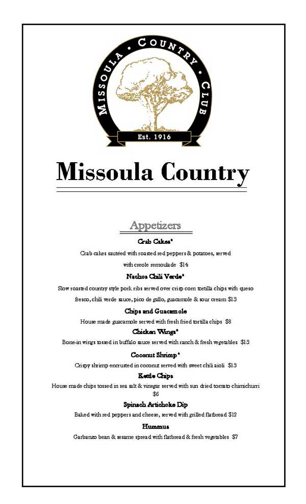 Food and Beverage | Missoula Country Club