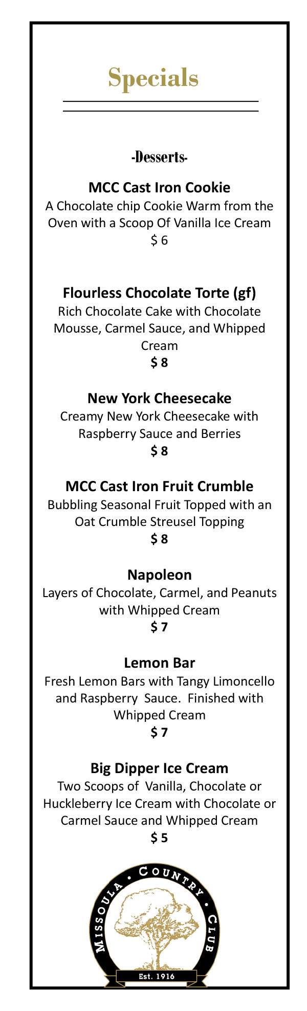 Missoula Country Club 2020 Desserts Menu