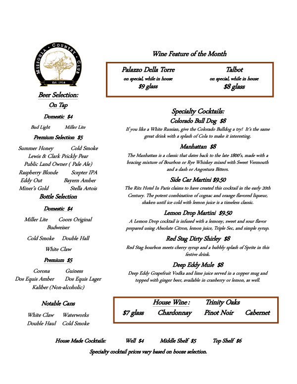 Missoula Country Club Wine and Cocktail Menu During Covid page two