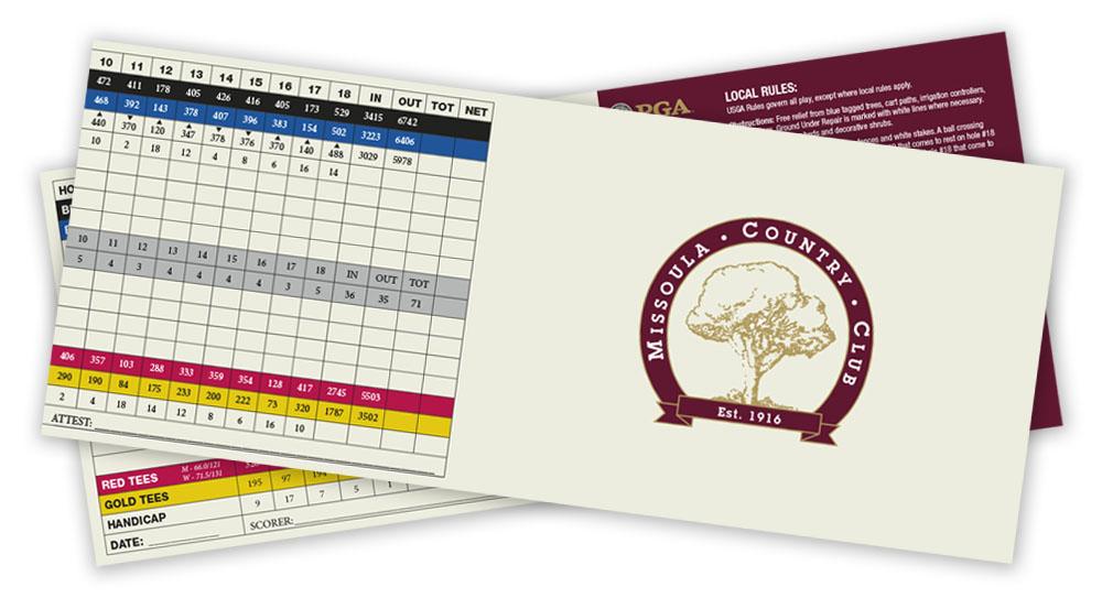Missoula Country Club Score Card 2021